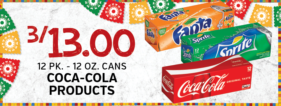3/13.00 12 Pk. - 12 Oz. Cans Coca-Cola Products